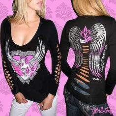 "Naughty Angel Slash Tee   ""Nightmares Never Looked so Good"" www.DemiLoon.com #angeltee #tattootee #rockabilly #goth #demiloon #angelwings #fashion"