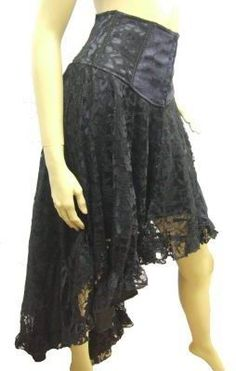 Raven - Black Lace Waterfall Skirt with Satin and Velvet Trim [RL710] - £42.50 : Gothic Clothing, Gothic Boots & Gothic Jewellery. New Rock Boots, goth clothing & goth jewellery. Goth boots and alternative clothing