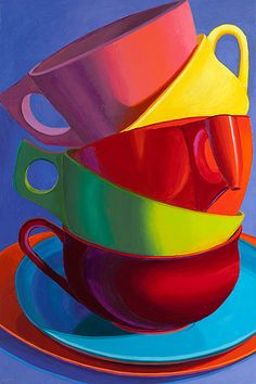 Marian Dioguardi - Obtener una manija en ella (Get a Handle on It). Cup Art, Coffee Art, Coffee Cups, Happy Colors, Painting Inspiration, Rainbow Colors, Color Splash, Painting & Drawing, Artwork