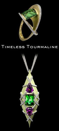 Tourmaline has an undeniable allure, from rosy rubellite and enchanting emerald-colored, to the exotic, electric-blue Paraíba. Learn more on the blog! Pendant Jewelry, Jewelry Art, Jewelry Design, Jewellery, Tourmaline Jewelry, Tourmaline Gemstone, Women's Rings, Emerald Color, Rare Gemstones