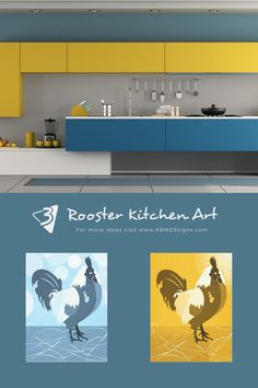 The #modernkitchen in yellow and teal sets the frame for the #roosterwallart in light-blue and yellow. #kitchenwalldecor #KBMD3signs