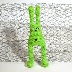 Amigurumi Crochet Grumpy Bunny - Lime Green with bellybutton