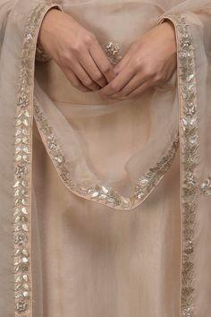 Best 12 Oyster Pink Gota Patti & Zardozi Hand Embroidered Suit with Dupatta Fancy Dress Design, Stylish Dress Designs, Dress Neck Designs, Designs For Dresses, Embroidery Suits Punjabi, Hand Embroidery Dress, Kurti Embroidery Design, Pakistani Fashion Party Wear, Pakistani Dresses Casual