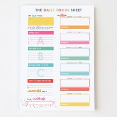 Daily Focus Sheet™ Sticky Notes