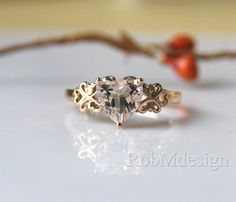 8mm Heart shaped Natural Morganite Ring Special Ring by RobMdesign