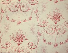 Toile d'Albert Wallpaper Traditional French floral wallpaper with architectural motifs in light cream and Red. Potential for Dining Rm