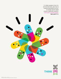 "IBM Smarter Planet - Icon Design and Illustration. San Francisco based creative studio ""Office"" teamed up with agency Ogilvy & Mather New York to Icon Design, Print Design, Logo Design, Graphic Design, Symbol Design, Badge Design, Medical Posters, Pharmacy Design, Healthcare Design"