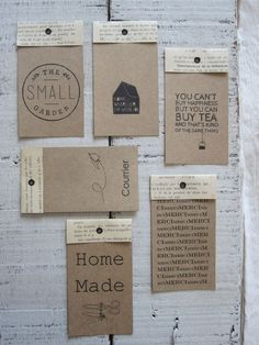 I like the idea of using the book pages on the top with the kraft paper stamped in black. I could see using the mixed media pages or gel prints instead of just plain book text. Book Making, Card Making, Paper Tags, Kraft Paper, Book Page Crafts, Handmade Tags, Tampons, Mail Art, Hang Tags