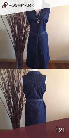 Allison Brittney Shirt Dress Midnight Blue v neck dress with  upper small pocket waist belt. New excellent condition. 100% Cotton Allison Brittney Dresses Midi