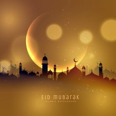Golden city background of eid mubarak Free Vector Carte Eid Mubarak, Feliz Eid Mubarak, Eid Mubarak Hd Images, Eid Mubarak Pic, Happy Eid Mubarak Wishes, Eid Images, Eid Mubarak Quotes, Mubarak Ramadan, Eid Mubarak Greeting Cards