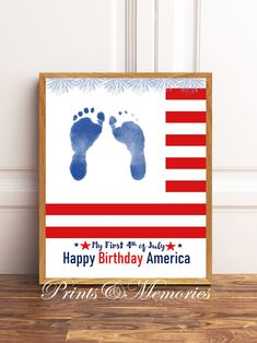 Baby Footprint Art, Footprint Crafts, Baby Crafts, Infant Crafts, Daycare Crafts, 4th July Crafts, Keepsake Crafts, Happy Birthday America, Fun Crafts To Do