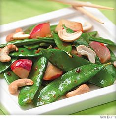 Cashew and Snow Pea Stir-Fry Try this gingery stir-fry featuring crispy snow peas and crunchy cashews as a main or side dish.
