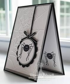 by Tawnya Bonnell, From My Pad to Yours: Halloween Spider Dropping In - SU Trick or Treat Theme Halloween, Halloween Spider, Halloween Cards, Halloween Greetings, Halloween Scrapbook, Fall Cards, Holiday Cards, Embossed Cards, Thanksgiving Cards
