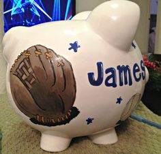 Personalized Hand Painted Baseball Piggy Bank by DesignsByTague, $40.00
