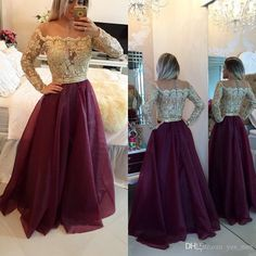 2016 Evening Dresses Wear Long Sleeves Jewel Illusion Neck Gold Lace Applique Beaded Organza Grape Plus Size Formal Party Dress Prom Gowns Online with $125.63/Piece on Yes_mrs's Store   DHgate.com