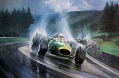 "Alan Fearnley ""Heading for Victory""  Hand signed and numbered lithograph on paper; Image size 14"" x 22"", edition of 850 with additional signature of Jack Brabham"