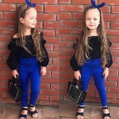 Clothes Fashion Kids Baby Girl Outfit Off Shoulder Shirt T-shirt Tops+Long Pants Fashion Kids, Baby Girl Fashion, Friends Fashion, Fashion Games, Autumn Fashion, Fashion Design, Fashion Trends, Toddler Girl Outfits, Kids Outfits