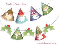 Printable Woodland Gnomes Banner PDF by littledear on Etsy https://www.etsy.com/listing/164511827/printable-woodland-gnomes-banner-pdf