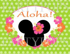 DIY Luau Birthday Party Banner 26 Letters Minnie By PartyPops