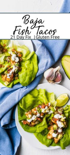 Baja Fish Tacos Recipe - Light flaky white fish baked with the perfect combination of spices then served on lettuce wraps with pico and Mexican lime crema. A tasty low calorie dinner worthy of a fiesta. Baja Fish Tacos Recipe - Light flaky white fish b Baked Salmon Recipes, Fish Recipes, Seafood Recipes, Whole Food Recipes, Healthy Recipes, Mexican Recipes, Healthy Food, Appetizer Recipes, Sweet Recipes