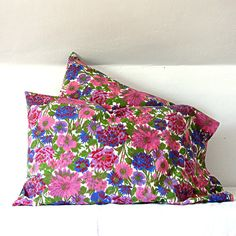 Cotton Floral Pillowcase Set Purple by jillbent on Etsy, $60.00 #etsy