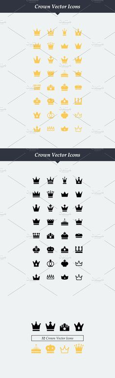 32 Vector Crown Icons #vectorcrownicons #crownicons