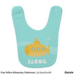 Cute Yellow Submarine, Underwater, For Babies