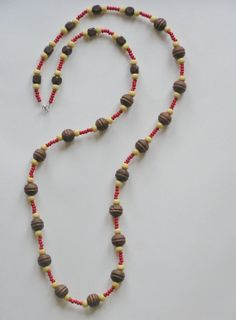 long wooden necklace, tribal necklace, brown, natural and red wooden beads, eco friendly casual, everyday necklace, versatile necklace