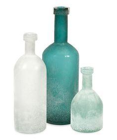 Look what I found on #zulily! Handblown Glass Bottle Set #zulilyfinds