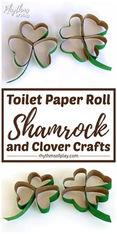 Make some toilet paper roll shamrock and clover necklaces for Saint Patrick's day. You won't get pinched without your green by this recycled shamrock craft! Toilet Roll Craft, Toilet Paper Roll Crafts, Cardboard Tube Crafts, Four Leaf Clover Necklace, Diy Wood Wall, Diy Blanket Ladder, How To Make Labels, St Patrick's Day Crafts, Baby Crafts