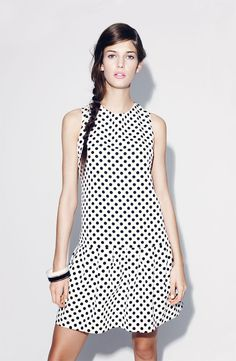 Donna Morgan Drop Waist Dot Dress (Petite) available at Cute Dresses, Beautiful Dresses, Fashion Models, Girl Fashion, Fashion Shoes, Dot Dress, White Fashion, Nordstrom Dresses, Couture