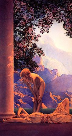 Maxfield Parrish - Daybreak (detail) used blue under painting and series of transparent, very thin glazes instead of mixing color, he layered them. Was inspired by Rembrandt. Art Nouveau, Maxfield Parrish, Renaissance, Amazing Art, Awesome, Pop Art, Art History, Illustrators, Fantasy Art