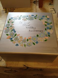 25th wedding anniversary memory/ keepsake box but big enough to hold three bottles of wine