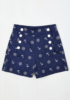 Play by Playful Shorts in Nautical - Blue, Novelty Print, Buttons, Pockets, Casual, Beach/Resort, Nautical, Spring, Summer, Short, Woven, Better, Blue, Cotton, White, Vintage Inspired, 40s, 50s