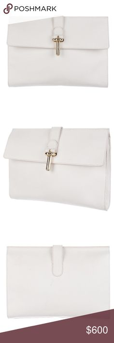 "BALENCIAGA CLUTCH AMAZING BALENCIAGA WHITE CLUTCH!!!  Used but in very good condition (3rd photo shows some discoloration on the back which is hardly noticeable). This is from the Spring/Summer 2014 collection.  It is white grained calfskin leather with gold tone hardware.  Inside it has wall pockets as well as a zip pocket.  Height- 9"", Width- 11.5""  This is 100% Authentic which Poshmark will authenticate when this is purchased. Thanks for checking this beautiful clutch out! :) Balenciaga…"