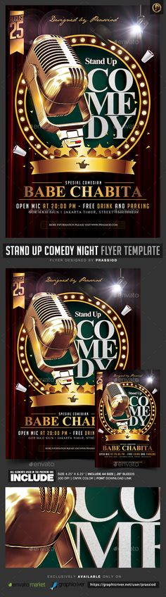 ■ [FREE]◾ Stand Up Comedy Night Flyer Template Actor Advert Advertisement Artist Showcase Comedy Night Concert Comedy Show, Stand Up Comedy, Print Templates, Psd Templates, Brochure Design, Flyer Design, Music Sketch, Birthday Flyer, Comedy Nights