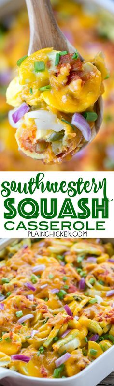 Southwestern Squash Casserole - CRAZY good!!! Great side dish for all your tex-mex dishes!! Squash, cheddar cheese, onion, green chiles, jalape�os, cumin, salsa, green onions, red onion. Everyone loved this easy side dish recipe. Great for a potluck and c