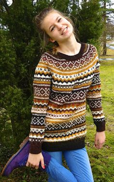 Fair Isle Natural wool sweater Made to order image 1 Fair Isle Knitting Patterns, Fair Isle Pattern, Icelandic Sweaters, Wool Sweaters, Norway Clothes, Nordic Sweater, Sweater Making, Kinds Of Clothes, Sweater Design