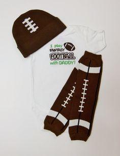 Football Fantasy Dad Bodysuit or Gown Baby Boy Gift by mamabijou