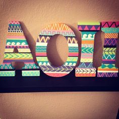 Don't forget to match your letters to your theme! (We sell tribal print shirts!!) :) www.greekt-shirtsthatrock.com