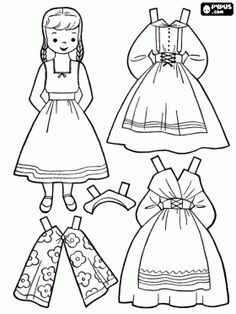 Doll representing a Swedish girl to dress with typical costumes coloring page