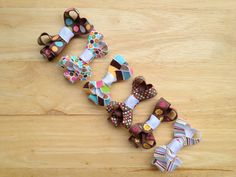 Set of 6 brown themed hair bows  baby bows by BrownEyedBowtique, $10.00