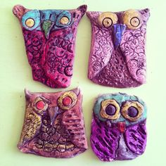 2nd Grade Clay Owls- Colored pencil & India Ink wash www.MalSmiles.com