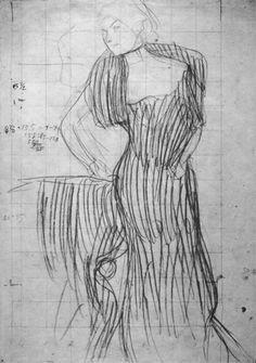 Gustav Klimt - Standing lady, leaning on a chair (Study for the Portrait of Rose von Rosthorn-Friedmann) 1900