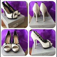 """New Jessica Simpson Eileen Pumps size 9M New with box, sat in closet, never worn. Faux patent leather upper, synthetic sole,  studs, heel size 3"""" and up. Creme/black. Jessica Simpson Shoes Heels"""