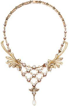 Gold Diamond Pearl Necklace, circa 1900.