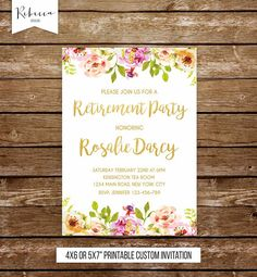 woman retirement party invitation retirement invitation farewell invitation moving invitation retirement invite floral party invitation by RebeccaDesigns22. Available at Etsy.com