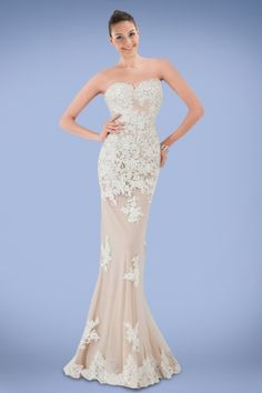 elegant-strapless-floorlength-evening-dress-featuring-lightly-beaded-lace-applique-with-nude-underlay