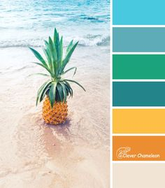 "Here's this week's colour inspiration for your next quilt project, brought to you by Clever Chameleon. Follow along and get a different colour palette idea every week at www.cleverchameleon.com.au/blog. The ""Digging for Pineapples"" colour palette is yellow, orange, green, blue and tan. Why is this colour scheme called Digging for Pineapples? Visit and find out, or pin for later!"
