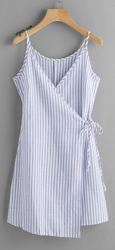 Vertical Striped Wrap Cami Dress - Or - an apron, I'm deciding to ORDER! Sewing Clothes, Diy Clothes, Clothes 2018, Clothes Women, Dress Clothes, Casual Clothes, Diy Fashion, Fashion Outfits, Womens Fashion